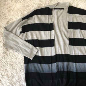 ALL SAINTS blue striped ombre open front cardigan